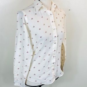 Vintage Long Sleeve Horse Print Button Down Top